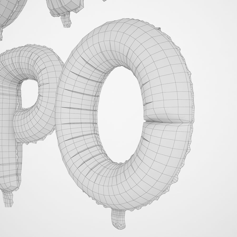 Folienballon Buchstaben rot royalty-free 3d model - Preview no. 38