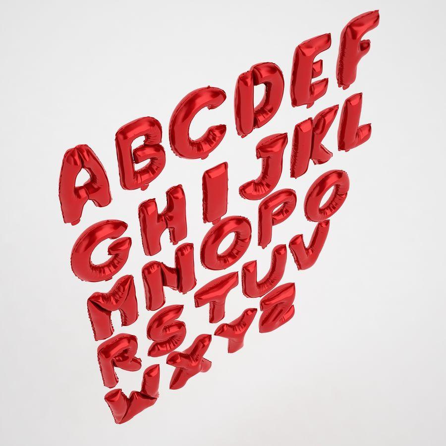 Folienballon Buchstaben rot royalty-free 3d model - Preview no. 7