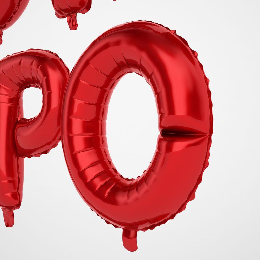 Folienballon Buchstaben rot royalty-free 3d model - Preview no. 37