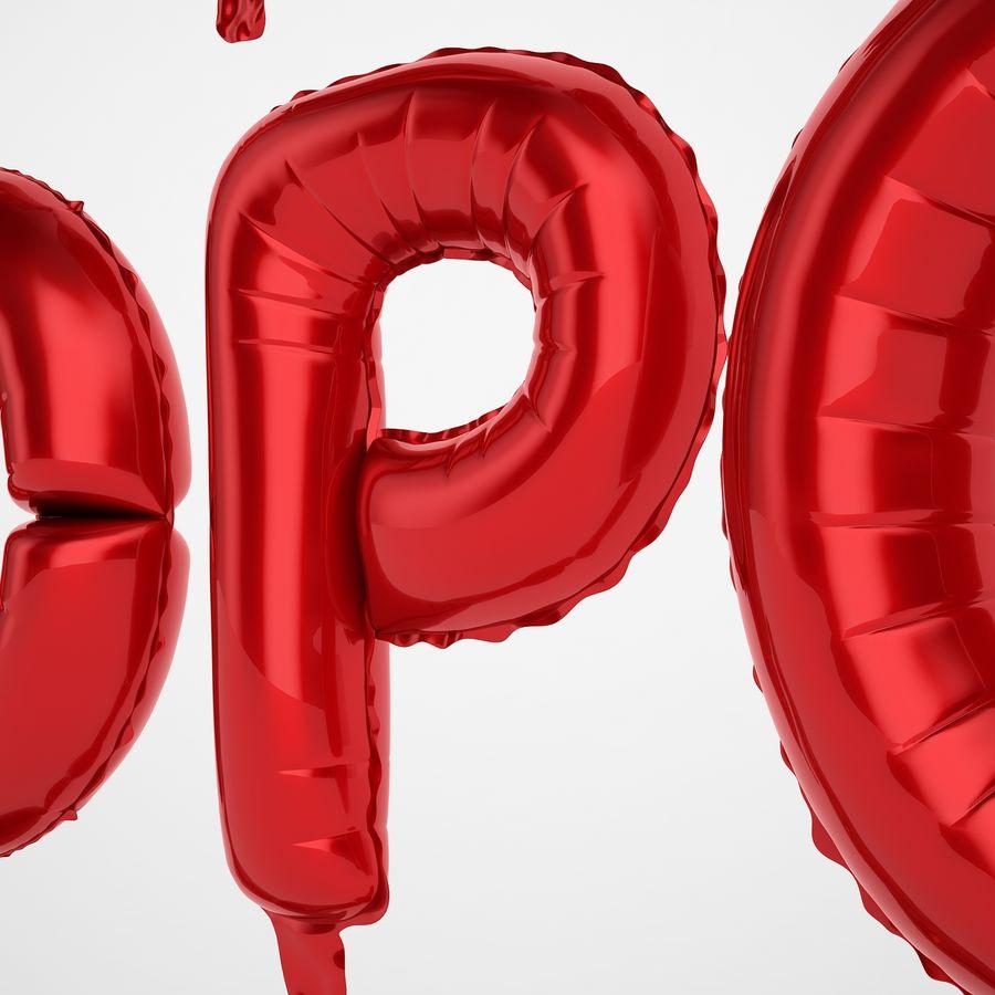Folienballon Buchstaben rot royalty-free 3d model - Preview no. 35