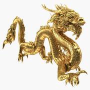 Golden Chinese Dragon 3D Model 3d model