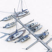 Mola i jachty 3d model