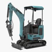 Mini Excavator with Breaker Modello 3D 3d model