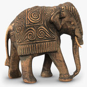Indian Wooden Elephant Statuette 3d model