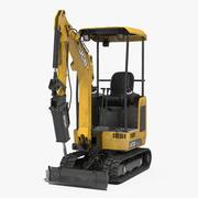 JCB Mini Excavator with Breaker Dirty 3d model