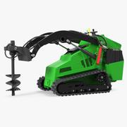 Mini Skid Steer Loader with Auger 3D Model 3d model