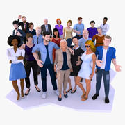 LowPoly City People Rigged Bundle 3d model
