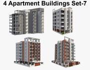 4 Apartment Buildings Set_7 3d model