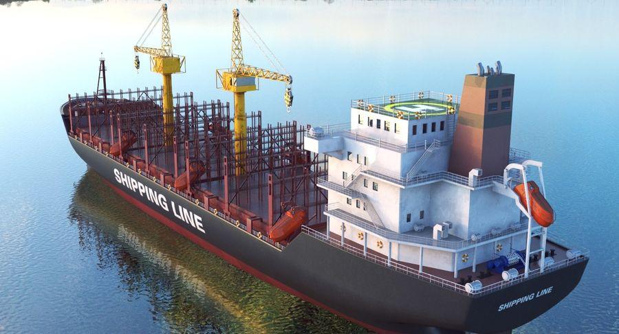 유조선 및 선적 컨테이너 선박 royalty-free 3d model - Preview no. 42