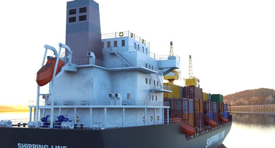 유조선 및 선적 컨테이너 선박 royalty-free 3d model - Preview no. 46