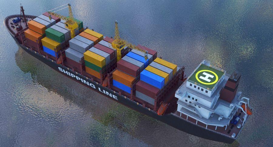 유조선 및 선적 컨테이너 선박 royalty-free 3d model - Preview no. 40