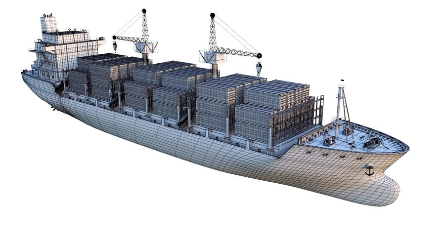 유조선 및 선적 컨테이너 선박 royalty-free 3d model - Preview no. 48