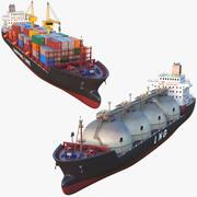 유조선 및 선적 컨테이너 선박 3d model