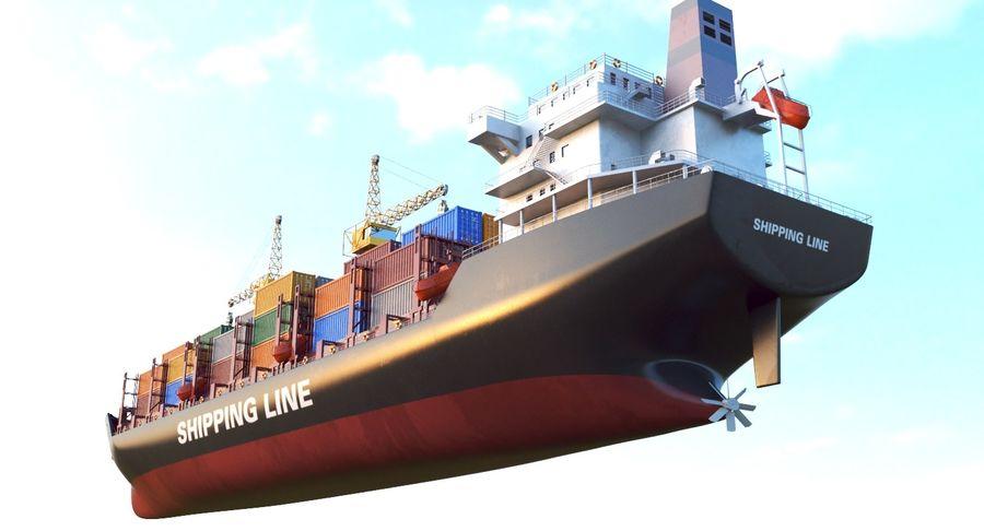 유조선 및 선적 컨테이너 선박 royalty-free 3d model - Preview no. 47