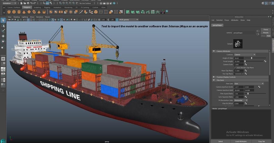 유조선 및 선적 컨테이너 선박 royalty-free 3d model - Preview no. 55