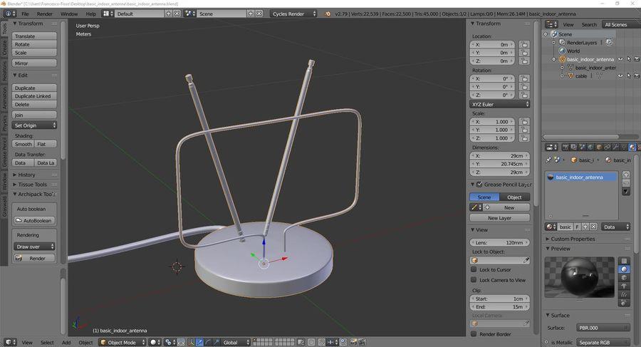 Grundlegende Innenantenne royalty-free 3d model - Preview no. 9