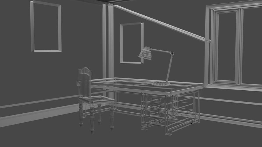Simple Room royalty-free 3d model - Preview no. 4