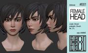Female Anime Head #1 3d model