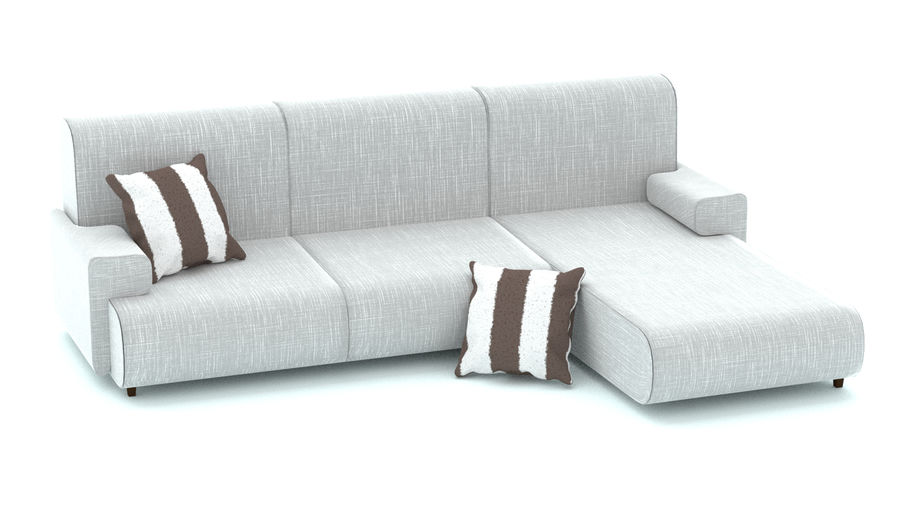 Couch with cushions royalty-free 3d model - Preview no. 4