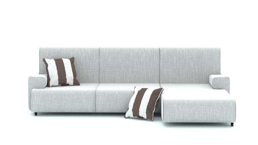 Couch with cushions royalty-free 3d model - Preview no. 2