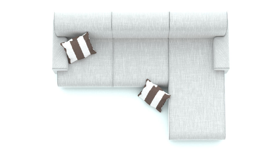 Couch with cushions royalty-free 3d model - Preview no. 3