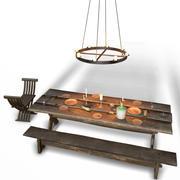 Medeltida inre ljus och maträtt 3d model
