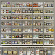 Rack with products, cans and spices 3d model