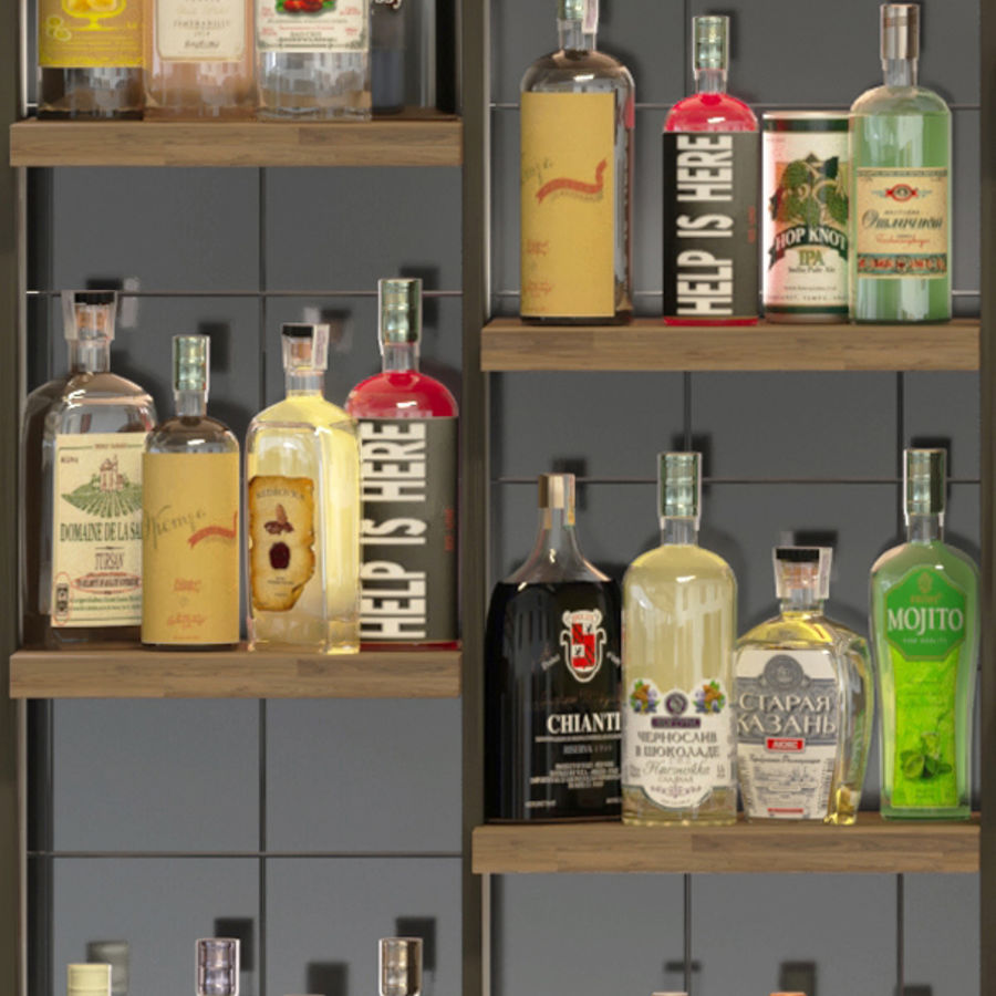 Stor bar 6 Alkohol royalty-free 3d model - Preview no. 3