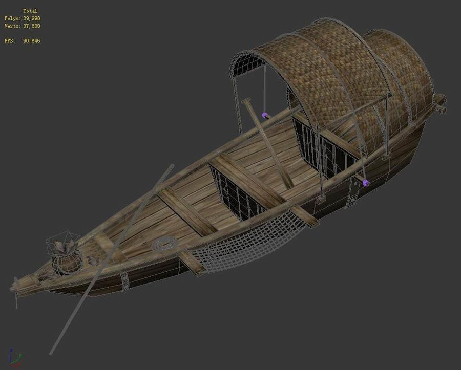 Ruch drogowy - Mała drewniana łódź 02 royalty-free 3d model - Preview no. 6