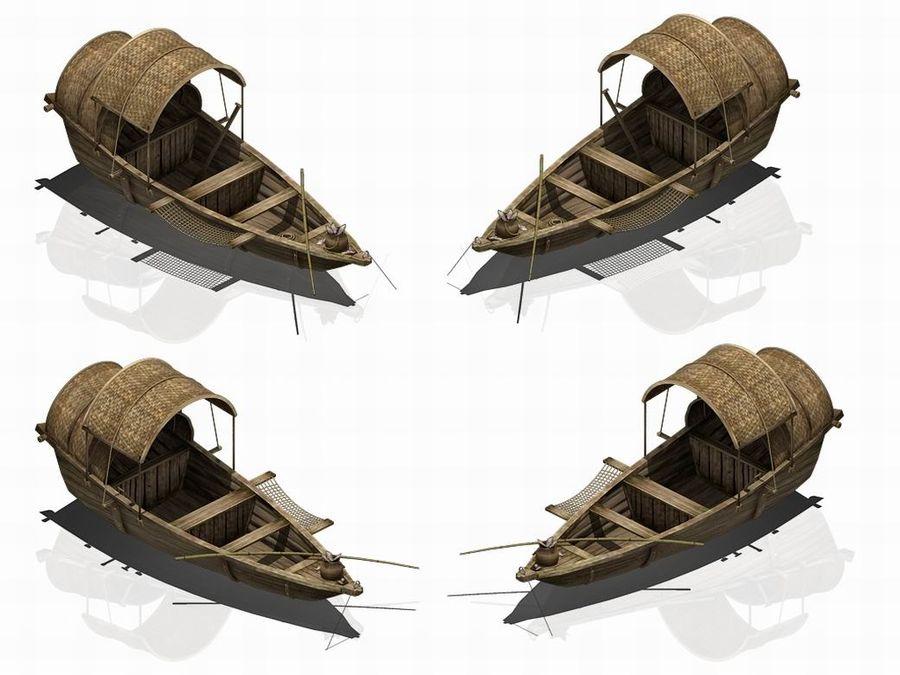 Ruch drogowy - Mała drewniana łódź 02 royalty-free 3d model - Preview no. 3