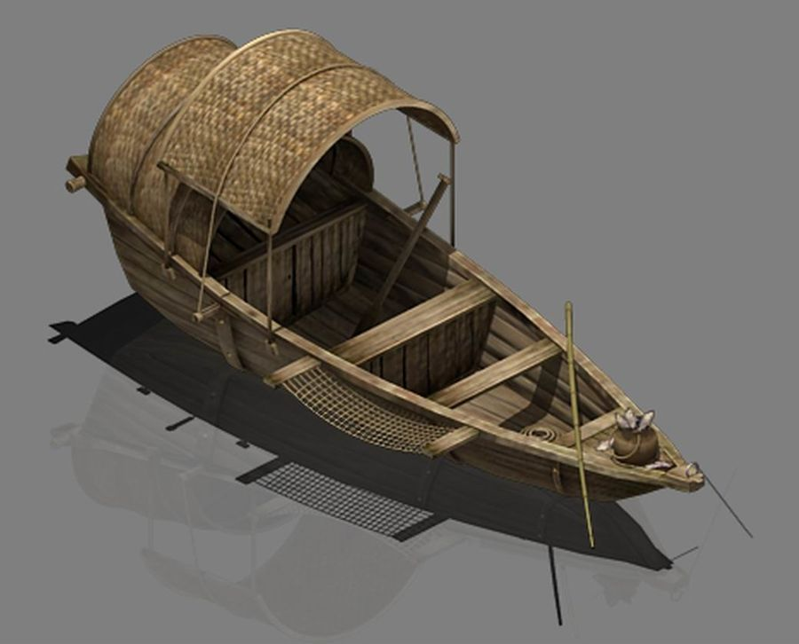 Ruch drogowy - Mała drewniana łódź 02 royalty-free 3d model - Preview no. 1