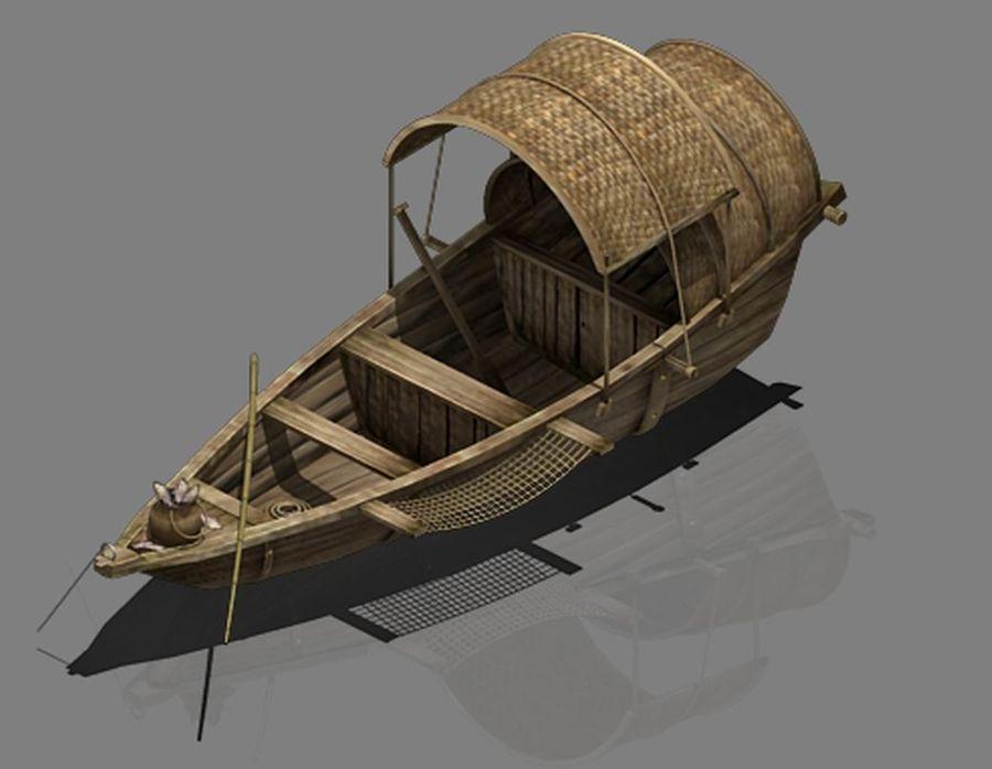 Ruch drogowy - Mała drewniana łódź 02 royalty-free 3d model - Preview no. 2