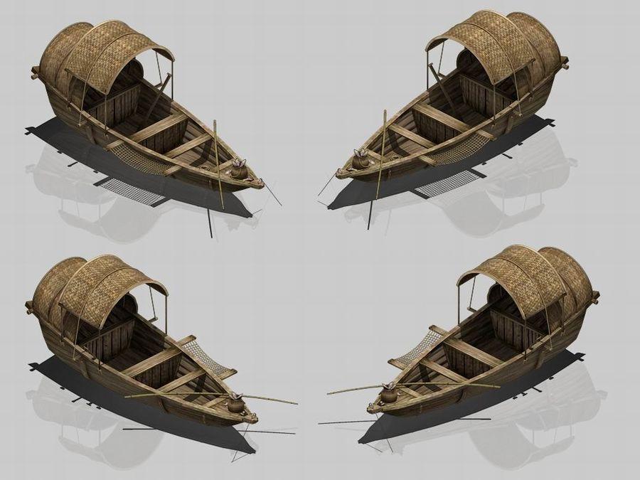 Ruch drogowy - Mała drewniana łódź 02 royalty-free 3d model - Preview no. 4