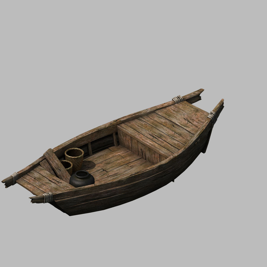 Ruch drogowy - Mała drewniana łódź 04 royalty-free 3d model - Preview no. 1