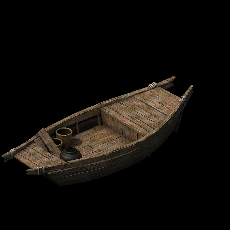 Ruch drogowy - Mała drewniana łódź 04 royalty-free 3d model - Preview no. 2