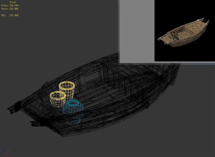 Ruch drogowy - Mała drewniana łódź 04 royalty-free 3d model - Preview no. 5