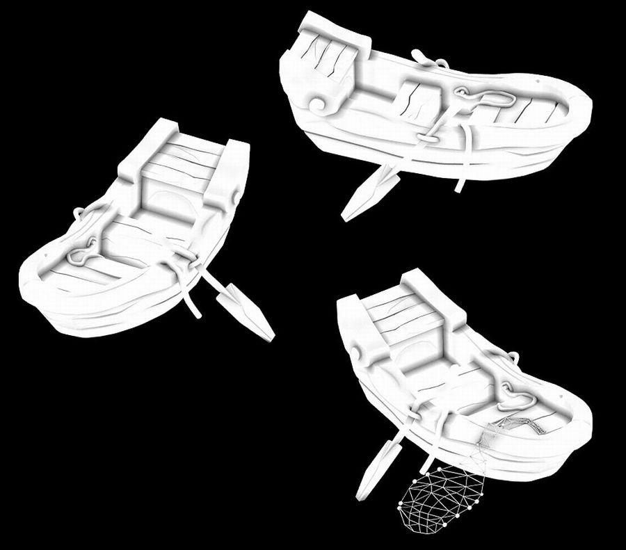 Południowe przedmieścia - łódź rybacka 06 royalty-free 3d model - Preview no. 4