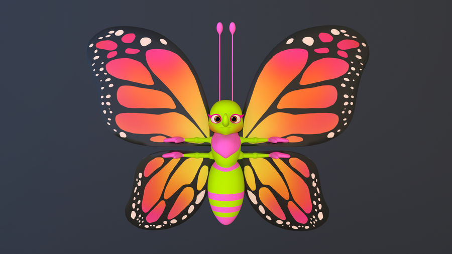 Asset - Cartoons - Character - Butterfly - Rig - Hight Poly royalty-free 3d model - Preview no. 2