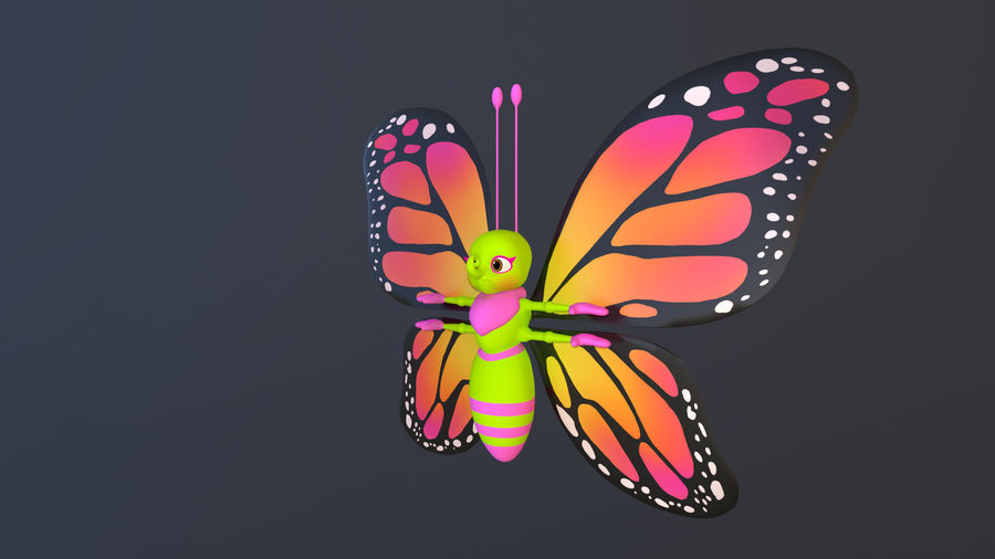 Asset - Cartoons - Character - Butterfly - Rig - Hight Poly royalty-free 3d model - Preview no. 5