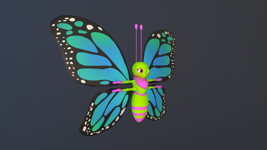 Asset - Cartoons - Character - Butterfly - Rig - Hight Poly royalty-free 3d model - Preview no. 7