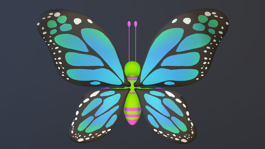 Asset - Cartoons - Character - Butterfly - Rig - Hight Poly royalty-free 3d model - Preview no. 8