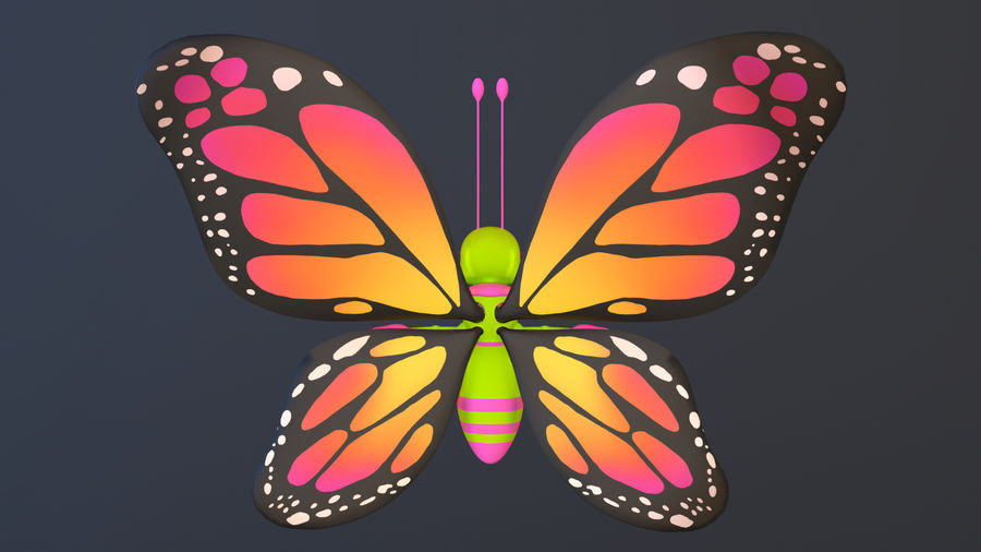 Asset - Cartoons - Character - Butterfly - Rig - Hight Poly royalty-free 3d model - Preview no. 4
