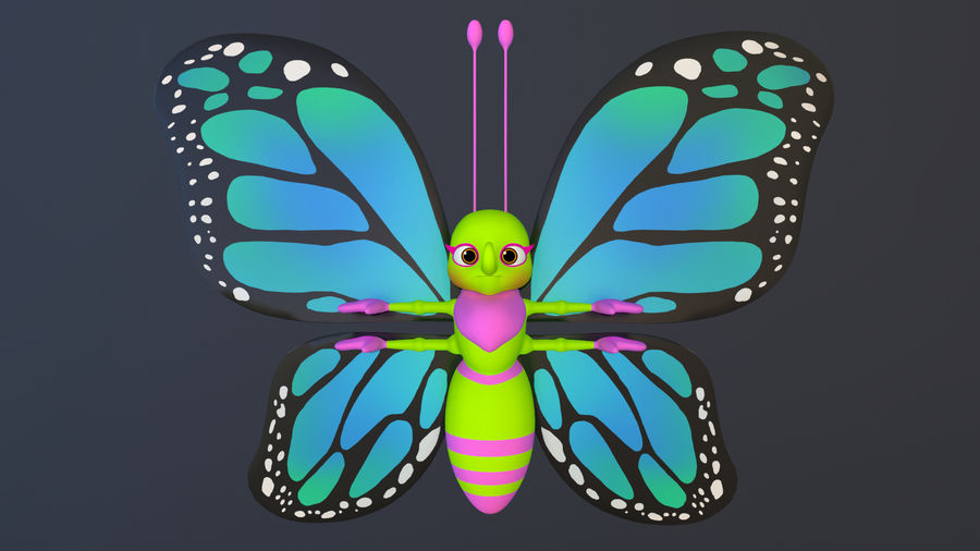 Asset - Cartoons - Character - Butterfly - Rig - Hight Poly royalty-free 3d model - Preview no. 6