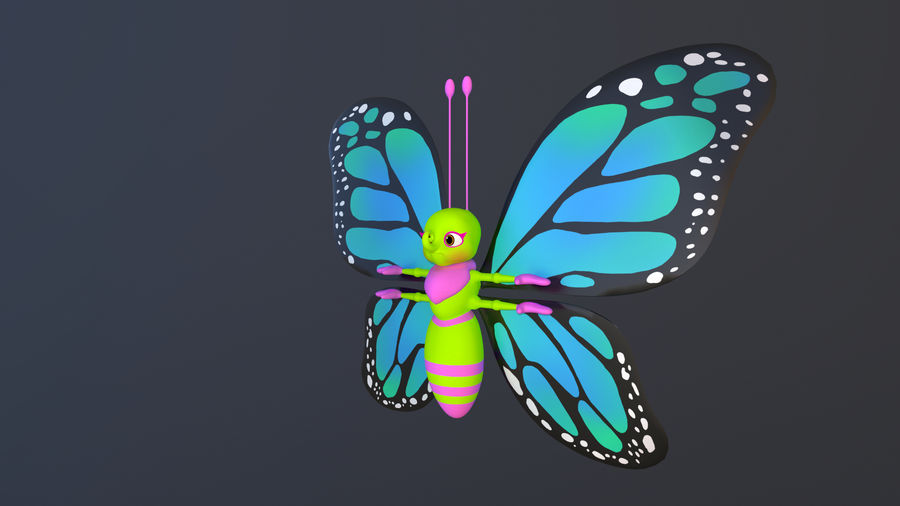 Asset - Cartoons - Character - Butterfly - Rig - Hight Poly royalty-free 3d model - Preview no. 9