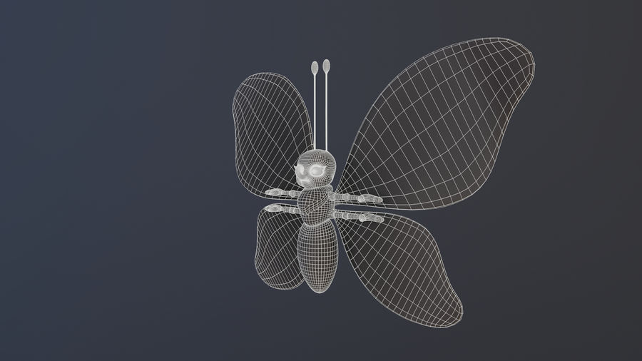 Asset - Cartoons - Character - Butterfly - Rig - Hight Poly royalty-free 3d model - Preview no. 13
