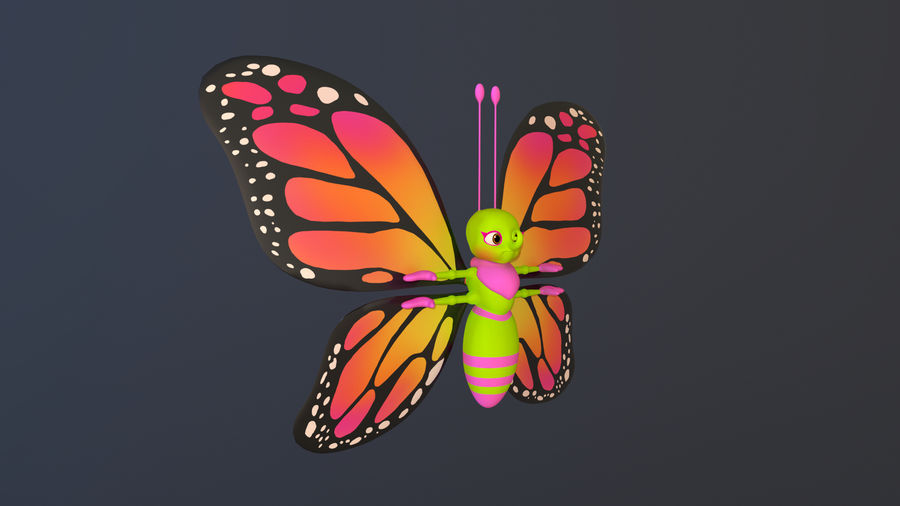 Asset - Cartoons - Character - Butterfly - Rig - Hight Poly royalty-free 3d model - Preview no. 3