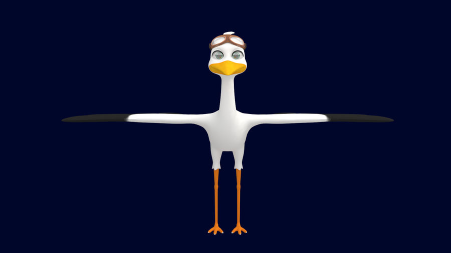 Asset - Cartoons - Character - Animals - Rig - Stork royalty-free 3d model - Preview no. 2