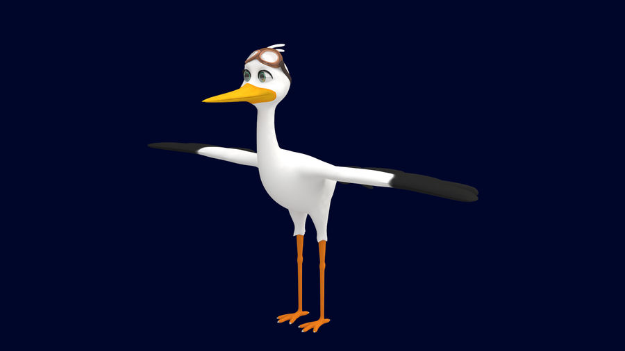 Asset - Cartoons - Character - Animals - Rig - Stork royalty-free 3d model - Preview no. 4