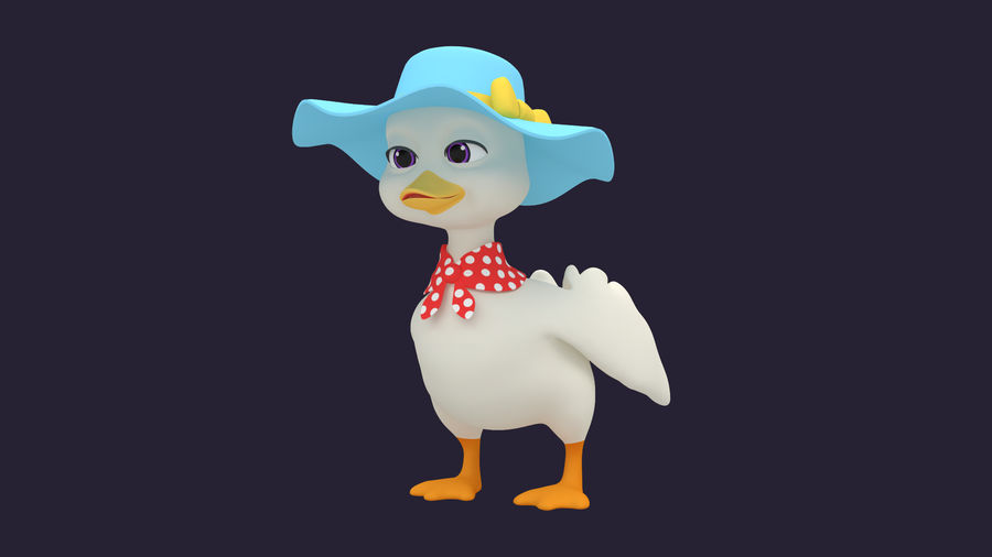 Asset - Cartoons - Dieren - Duck - Hight poly 3D-model royalty-free 3d model - Preview no. 2