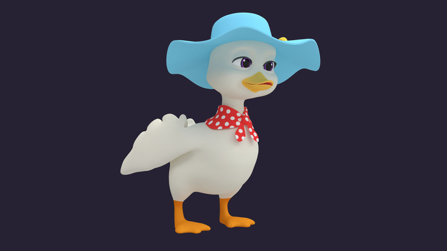 Asset - Cartoons - Dieren - Duck - Hight poly 3D-model royalty-free 3d model - Preview no. 3
